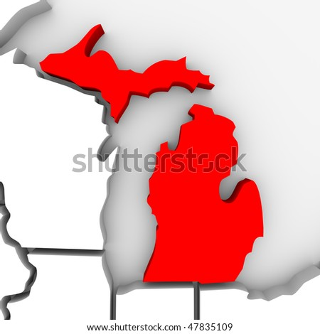 A 3d render of a map of the state of Michigan - stock photo