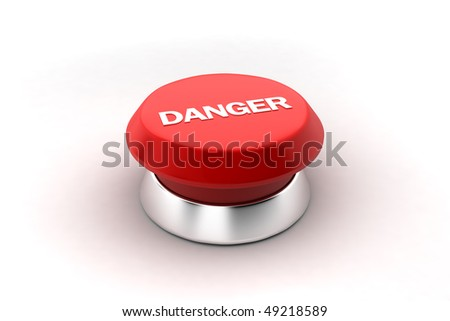 A 3d render of a red danger button. - stock photo