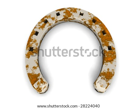 a 3D render of a steel horse shoe with some rust - stock photo
