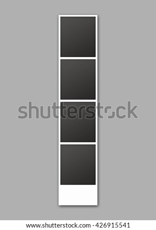 A 3D render of a strip of blank photos from an instant photo booth on an isolated white studio background - stock photo