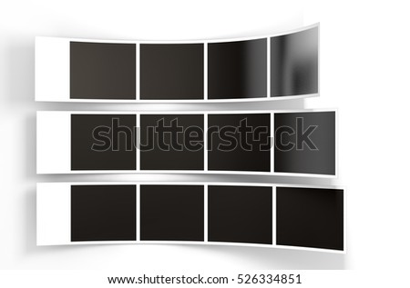 A 3D render of a three strips of blank photos from an instant photo booth on an isolated white studio background