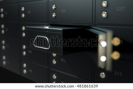 A 3D render of a wall of black numbered metal safe deposit boxes in a vault with one opened revealing its contents inside