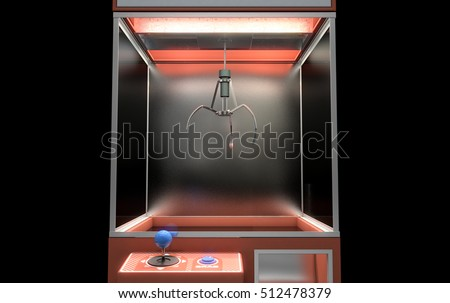 A 3D render of an empty arcade type claw grabber game on an isolated black background