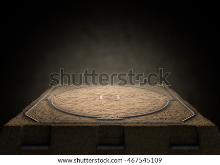 A 3D render of an empty traditional sumo wrestling ring made with sand dimly lit by spotlights on a dark background