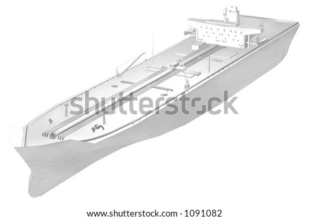 A 3d render of an oil tankerwith some of the polygon grid visible modelled by me. - stock photo