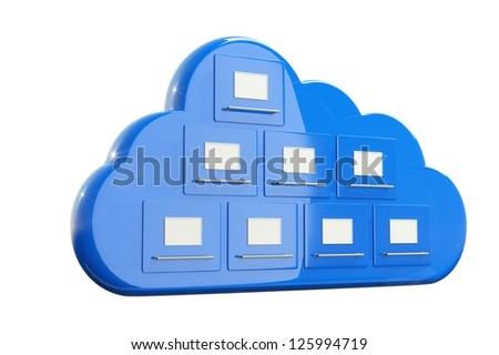 a 3d render of cloud with cabinets, cloud computing concept - stock photo