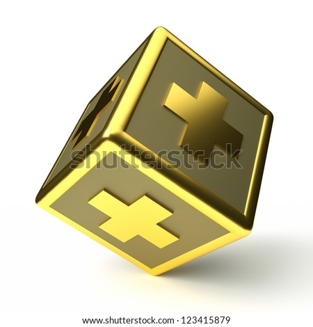 a 3d render of cube with cross inside isolated on white