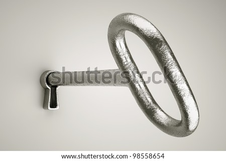 a 3d render of key with keyhole  on grey