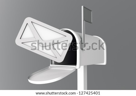 a 3d render of mailbox with envelop icon inside - stock photo