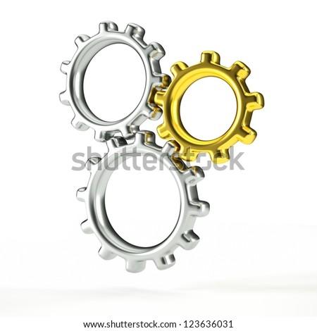 a 3d render of metal gears, teamwork concept - stock photo