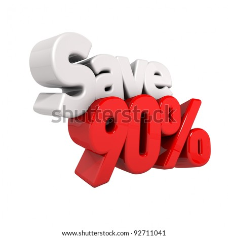 A 3d render of ninety percent price reduction and save in text and numbers angled obliquely isolated on white - stock photo