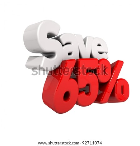 A 3d render of sixty-five percent price reduction and save in text and numbers angled obliquely isolated on white - stock photo