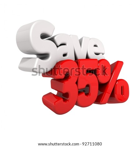 A 3d render of thirty-five percent price reduction and save in text and numbers angled obliquely isolated on white - stock photo