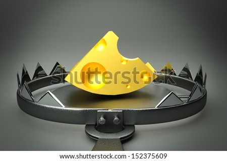 a 3d render of trap with cheese inside - stock photo