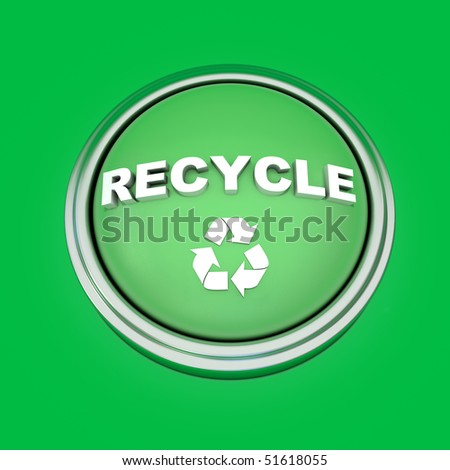 A 3d rendered button with the word recycle extruded out from it along with the recycling  symbol.  Isolated on a green background. - stock photo