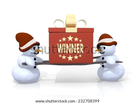 a 3d rendered gift with a winner symbol printed on it is carried by two little snowman isolated on white background - stock photo