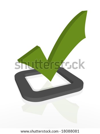 A 3D rendered green check mark hovering over a grey check box on a white background