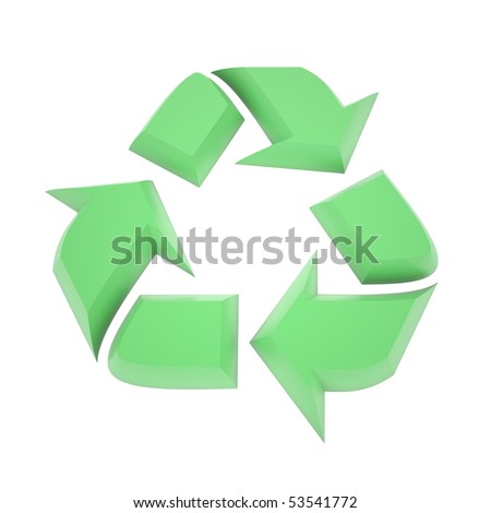 A 3d rendered green recycling symbol.  Isolated on a white background.