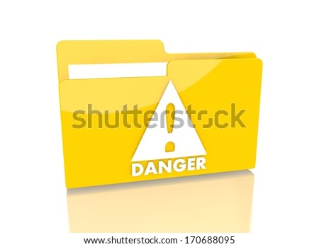 a 3d rendered icon showing a file folder with a Danger symbol on it isolated on white background