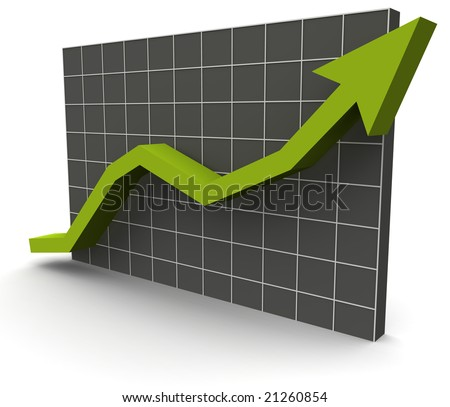 a 3D rendered illustration of a business data graph on a grey grid background - stock photo