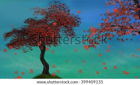 A 3d rendered illustration of a red maple tree in the early evening. - stock photo