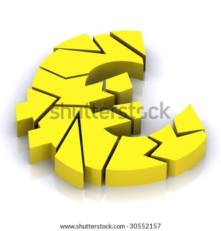 A 3d Rendered Illustration portraying the Credit Crunch (Euro) - stock photo