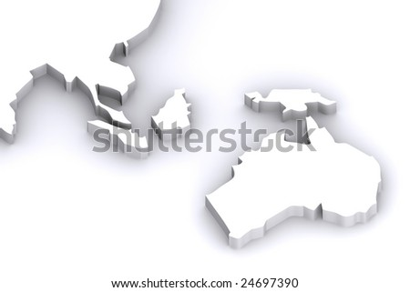 A 3d Rendered Image of Australia and Japans Map