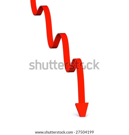 A 3d Rendered Image portraying a Slump in the Market - stock photo