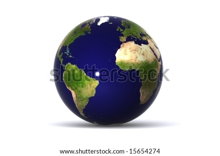 A 3d rendered Isolated earth (america and europe)