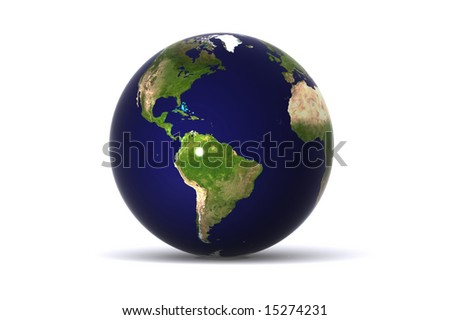 A 3d Rendered Isolated Globe (America)