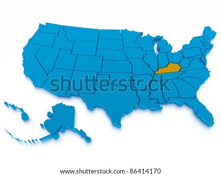a 3D rendered map of USA - stock photo