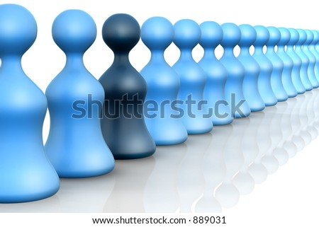 A 3D rendered queue concept with pawns - stock photo