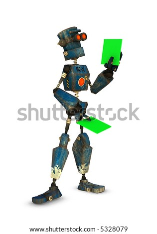 a 3d rendered robot inspects something (replace green with your own) - stock photo