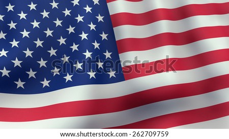 A 3D rendered still of a American flag, waving and rippling in the wind.