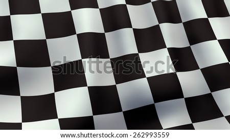 A 3D rendered still of a checkered racing flag, waving and rippling in the wind.