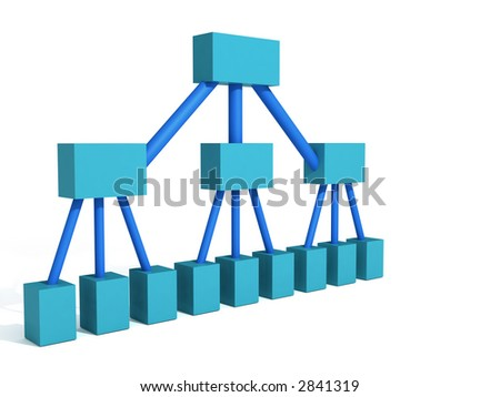 a 3d rendering depicting a classic org chart for a company - stock photo