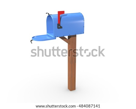A 3D rendering of a blue and empty US Mailbox, open with clean casing and red flag up.