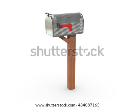 A 3D rendering of a chrome and empty US Mailbox, closed with corrugated casing and red flag down.