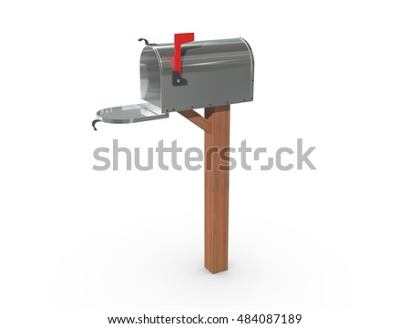A 3D rendering of a chrome and empty US Mailbox, open with clean casing and red flag up.