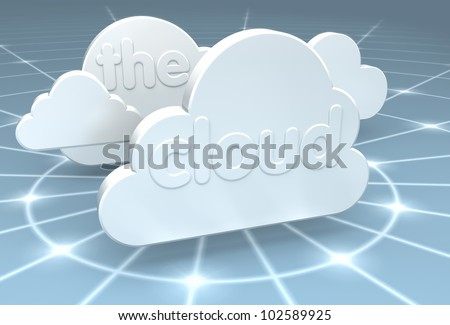 A 3D rendering of a cloud computing center with glowing data rings fading off into the internet network