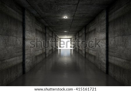 A 3D rendering of a distant look down a dark stadium sports tunnel to enter a lit arena in the distance - stock photo