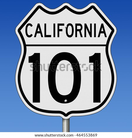 A 3d rendering of a highway sign for California route 101