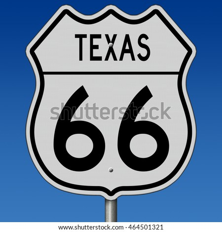 A 3d rendering of a highway sign for Texas route 66