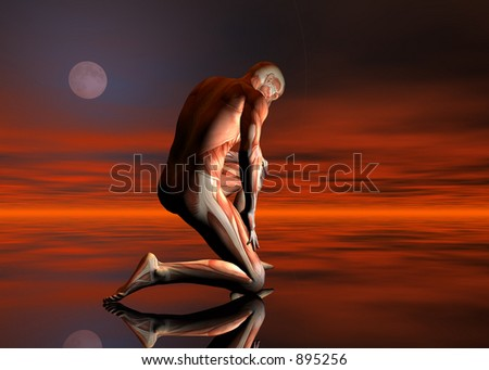 A 3D rendering of a man with no skin kneeling - stock photo