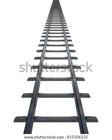 A 3D rendering of a train track disappearing into the distance on an isolated white studio background