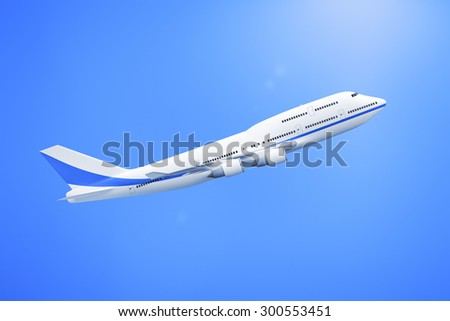 A 3D rendering of an Airplane in the blue sky - stock photo