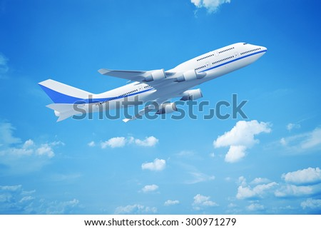 A 3D rendering of an Airplane in the blue sky