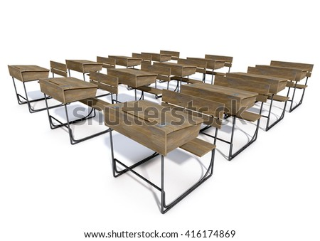 A 3D rendering of an array of vintage wooden school desks set out in rows on an isolated white studio background