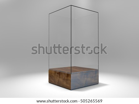 A 3D rendering of an empty glass display case  with a wooden base on an isolated white studio background