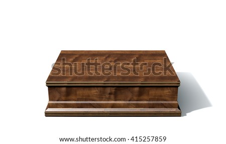 A 3D rendering of an empty wood and brass trophy base on an isolated white studio background - stock photo